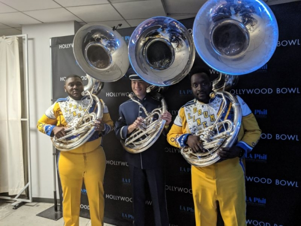 Backstage at the Hollywood Bowl with Beyonce's sousaphone players!