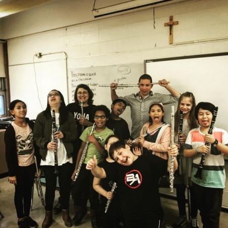 With Youth Orchestra of Northern Alberta Sistema students!