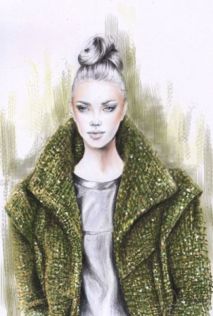 Chanel Elegance - complete fashion illustration . Pencil and markers