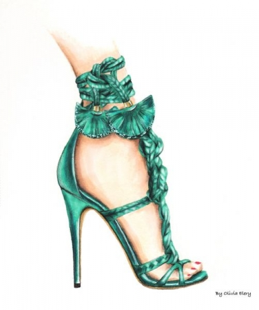 Give a girl the right shoes so she can conquer the world- color pencils, watercolor and markers