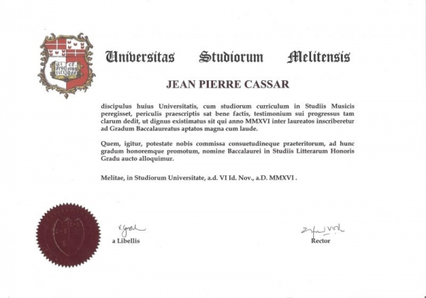 Performance degree from the University of Malta. Full copy available on request