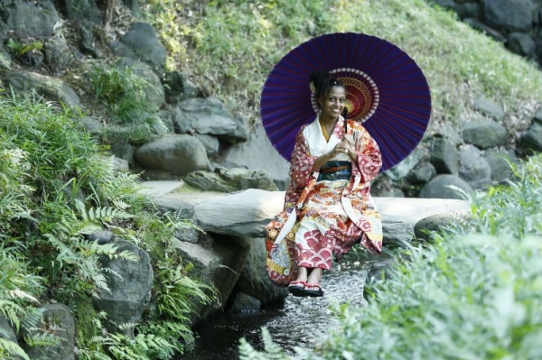 Photo from Japan in a furisode (kind of like a kimono with long sleeves) on a photography session.