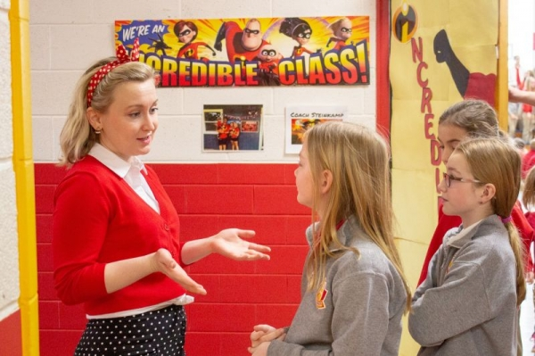 Talking to some audience members after a performance of Little Red's Most Unusual Day.