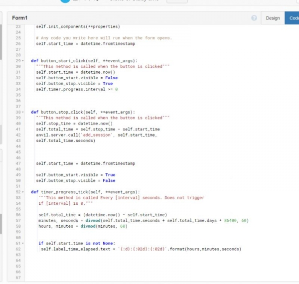 Anvils front end automated IDE. Using only Python to make Web App