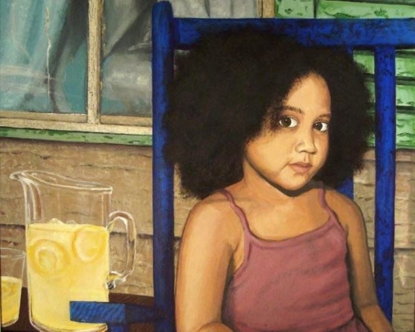 Acrylic portrait I painted of a young girl.