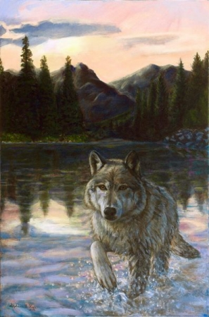 Acrylic portrait I painted of a wolf in a lake.