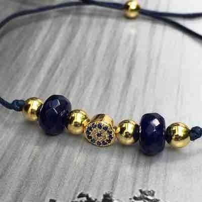 Simple nylon bracelet with Natural Sapphires beads, Diamonds and 14k gold