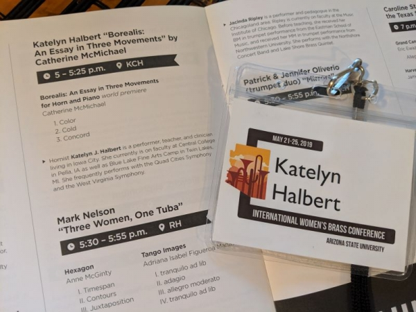 My name tag and program blurb from the International Women's Brass Conference May 2019