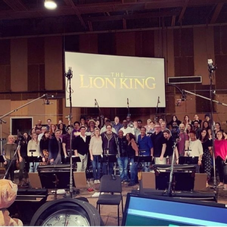 With Jon Favreau during a recording session for The Lion King