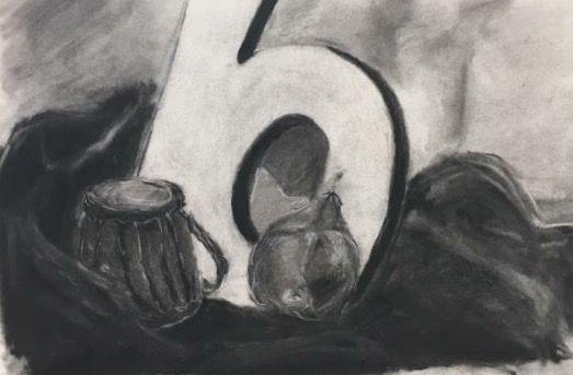 Student Still-life in Charcoal