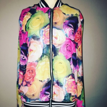 Custom made Sheer Floral Bomber Jacket made by yours truly Melissa George.