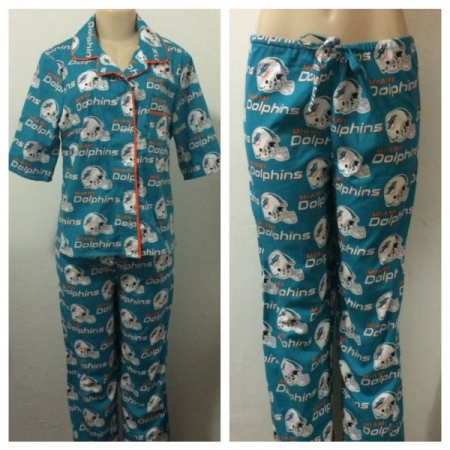 Custom made Miami Dolphins pajama set made by yours truly Melissa G.