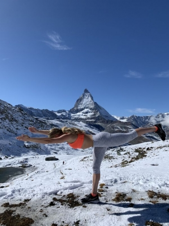 Virabhadrasana III at the Matterhorn in Switzerland