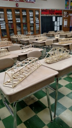 Popsicle stick bridges to help understand concepts of measurement and physics.