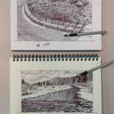 Here are some more Bic pen drawings. I enjoy the challenge of not be able to erase the marks I make.