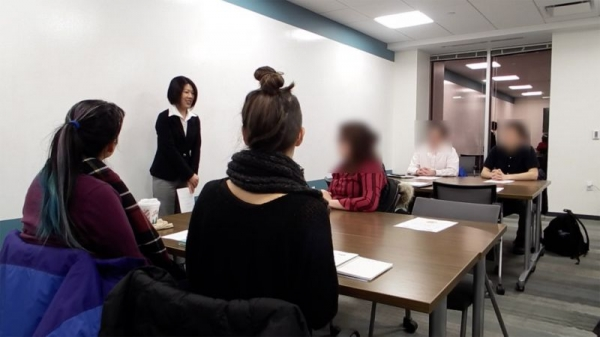 Teaching a Japanese language class at the Japan Society of Boston in January, 2018.