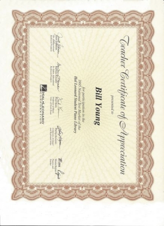 World's Largest Music Publisher Certificate thanking Mr. Young for evaluating their New Piano Teacher's method book.