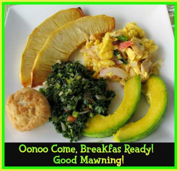 Breadfruit, scrambled eggs, bakes, and sauteed spainach.  Breakfast for champions