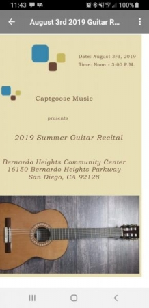 Annual guitar recital.  This year's attendance was at capacity.  Preparing for 2020 summer recital 4 additional family and friends.