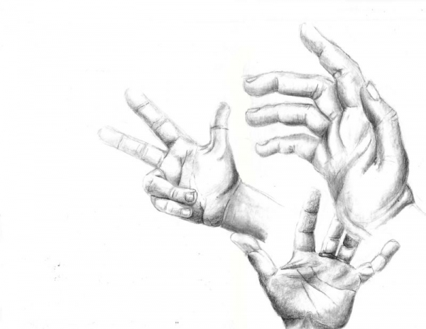 Hands Studies, pencil.
