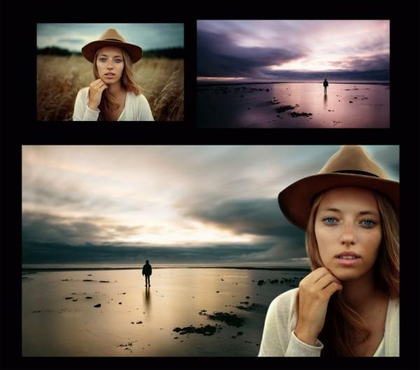 Create composite images in Photoshop combining two or more photographs.