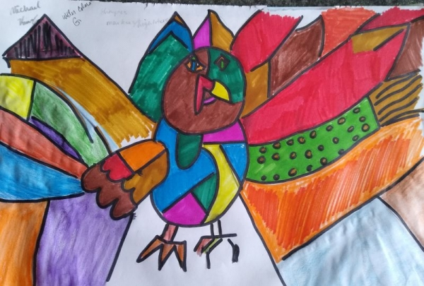 The study of Pablo Picasso (Thanksgiving Turkey Art) Mixed Medium of Markers, and Watercolors)