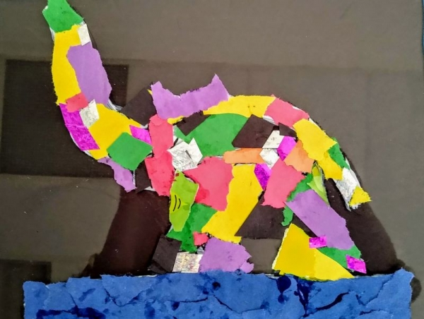 Elephant Mosaic Art on Plexiglass.