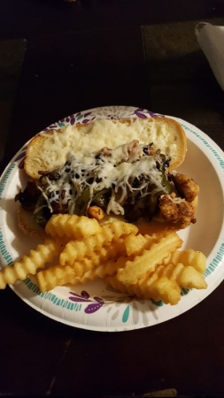 My son's (10 at the time) chicken philly with fries, if I can teach him to cook hands off I can teach others too.
