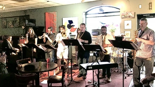 Performing with my nonet at The Iron Post in Urbana, IL.