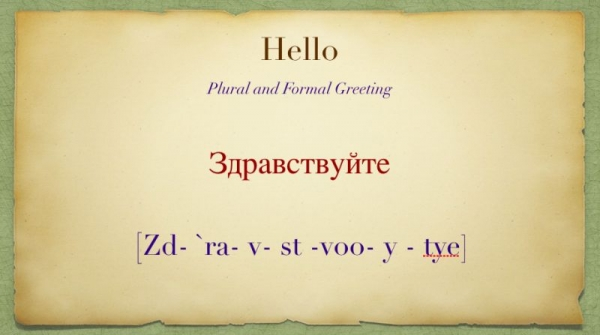 """How to say """"Hello"""" in Russian."""