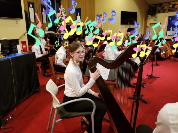 One of my students playing in her first orchestra concert