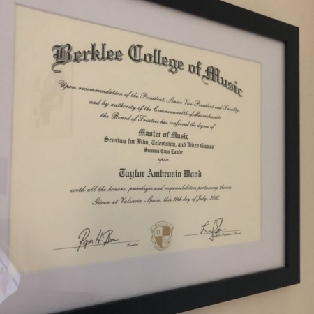 Master's degree from Berklee College of Music