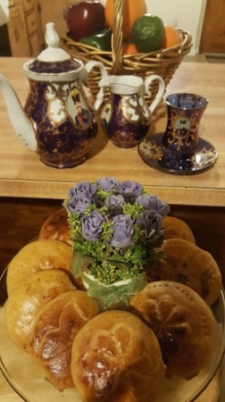 Persian style Afternoon Tea with Persian Stuffed Biscuits/ Koloucheh with fruit