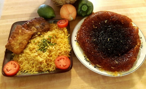 Persian Gulf and Khuzestan/Southern style Sweat Saffron rice and fried Fish