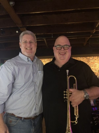 Me with Dan Miller, an extremely talented jazz trumpeter who played with Harry Connick, Jr.'s big band.