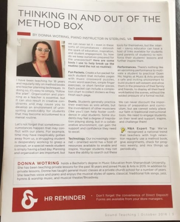 An article I wrote for a Music & Arts Newsletter publication
