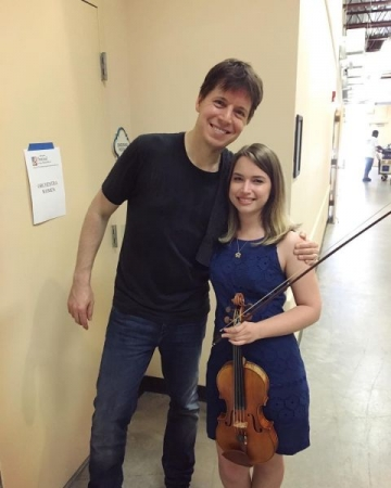 Backstage after our dress rehearsal with violinist Joshua Bell.