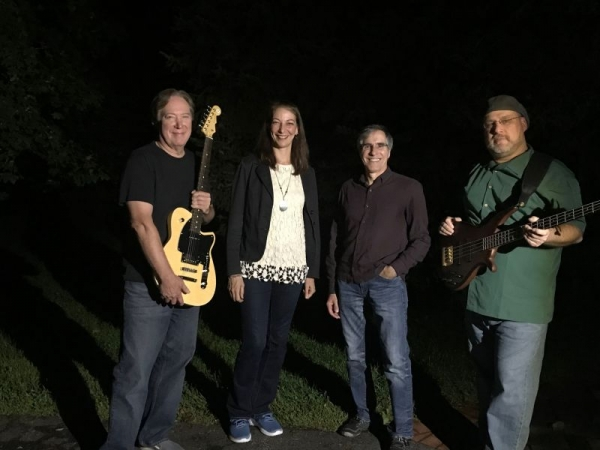 """With my band mates from """"Clouds in My Coffee,"""" Carly Simon and Carole King tribute band."""