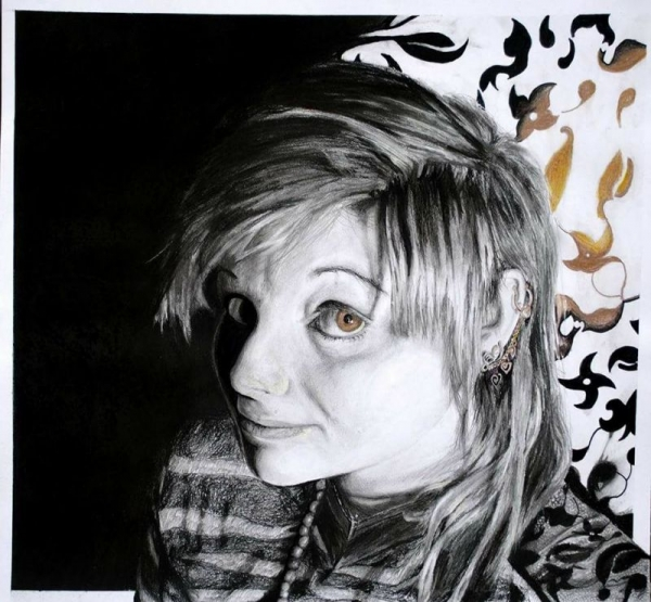 Golden ; Graphite, Ink, colored pencil,  charcoal