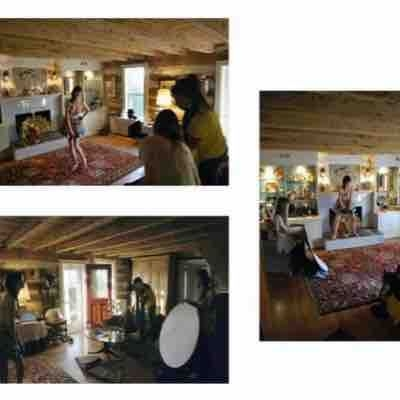 Behind the scene photo shoot at a log cabin setting in one of my favorite farms