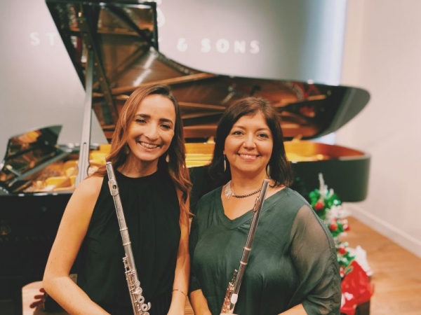 Catherine Marshall and Elena Yarritu performing at the Steinway Gallery Teachers Recital