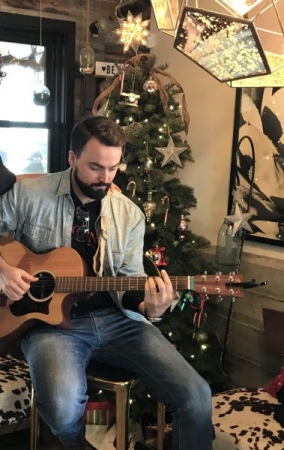 "Live acoustic at ""Unbound"" book release party – Feast it Forward (near Napa's famous Oxbow Commons), Winter 2019"