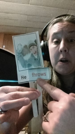 "Teaching students online the word ""throw""."