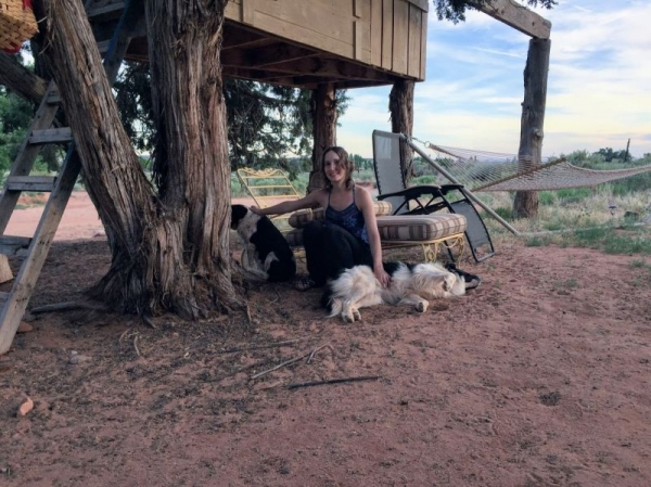 Enjoying the outdoors with some furry friends.