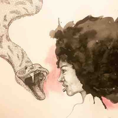 Ink and pastel