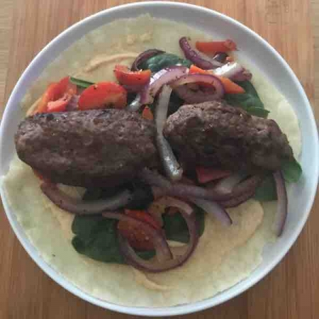 Grass-fed beef Roll and Veggies in Grain free tortilla wrap