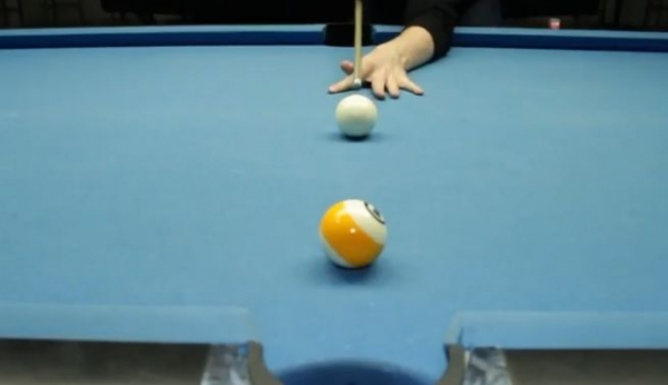 Here is another example of a type of bridge support that you will you use in billiards.  This is called an open bridge.