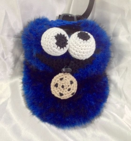 Crochet: Cookie Monster rock climbing chalk bag I designed for a client.