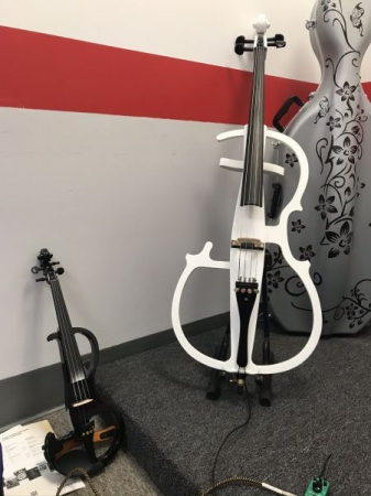 When my Violin is in the shop I bring my electric violin and cello to class.