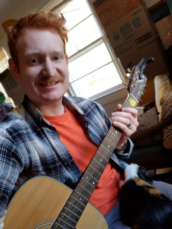 Doing a little composition and jamming with Roscoe, our guinea pig. He loves listening to me play! December, 2019.